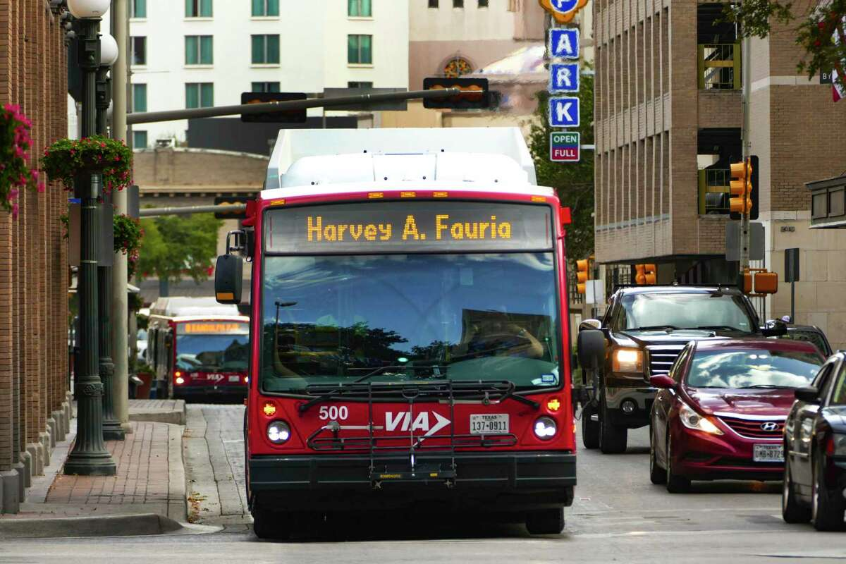 A San Antonio VIA city bus displays the name of Harvey A. Fauria, a bus driver who died from COVID-19 complications on Sept. 10. He was an award-winning driver, having received a three-year VIA Safety Recognition award.