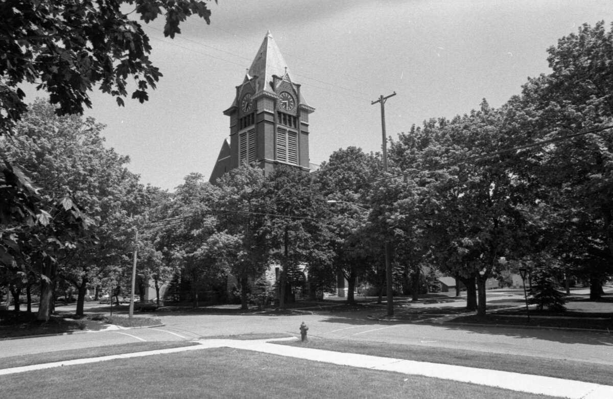 This photo shows a view of the First Congregational Church in late May 1981. (Manistee County Historical Museum photo)