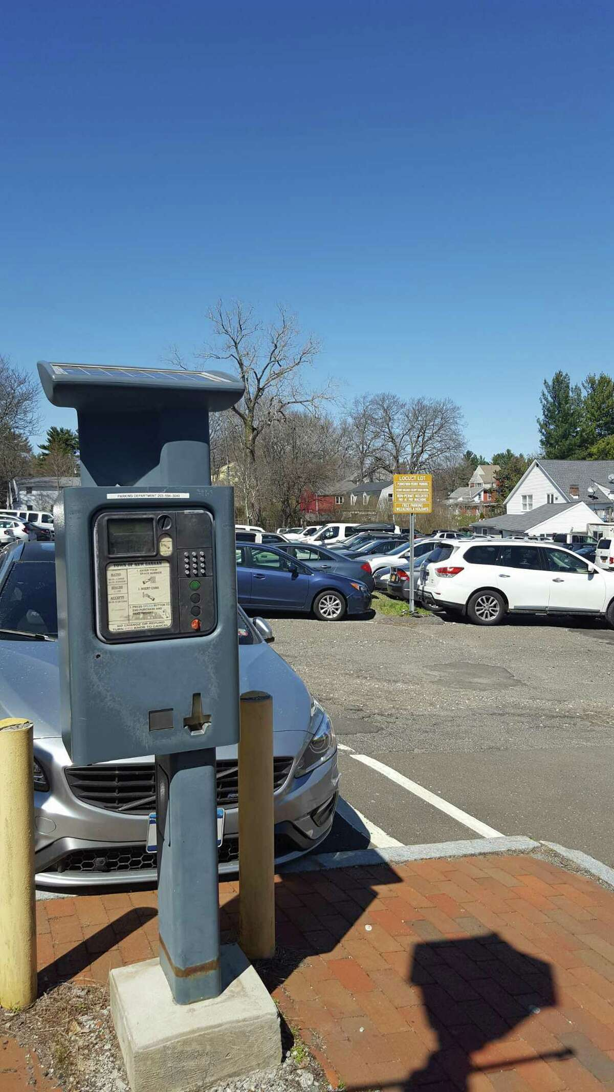 Pictured is the Town of New Canaan's parking lot on Locust Avenue. The New Canaan Thrift Shop is having its first Grand Summer Tag Sale on Saturday, June 12, from 10 a.m. to 4 p.m., in the town's Locust Avenue parking lot, which is adjacent to the thrift shop. All social distancing rules will apply at the event amid the coronavirus pandemic.