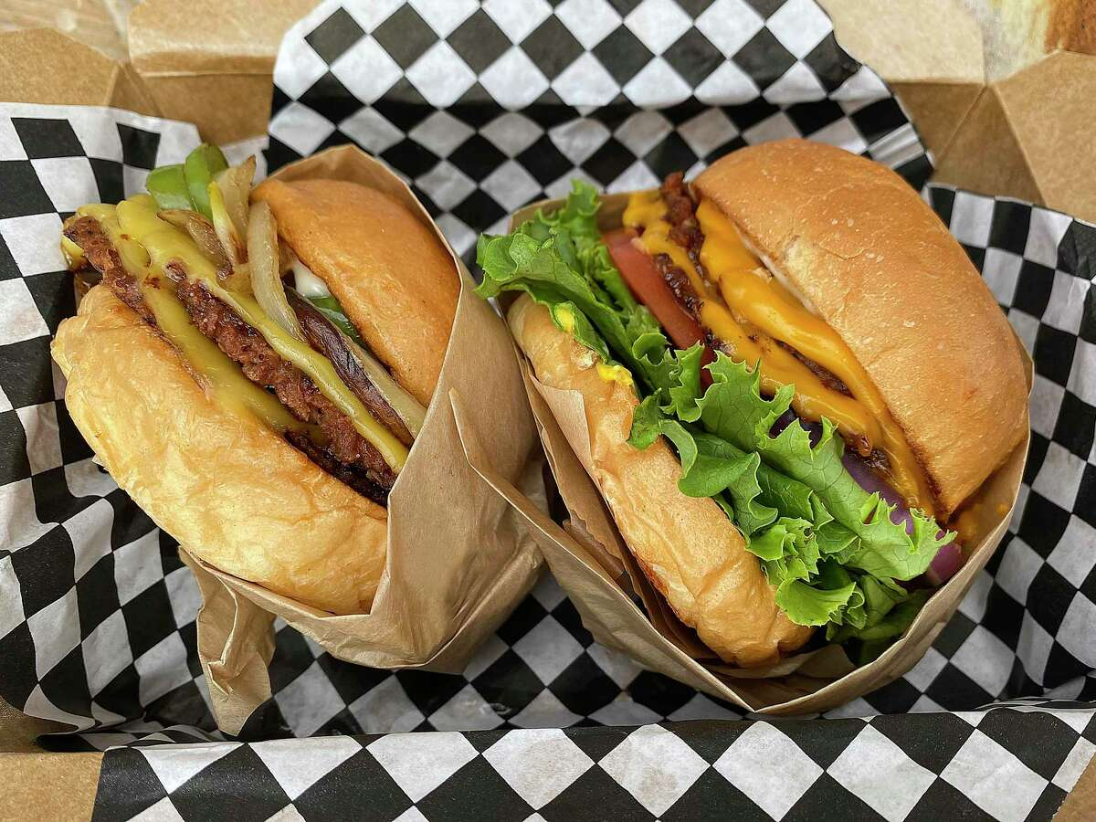 The vegan burger menu at Blissful Burgers includes The Bhilly, left, and The Classic.