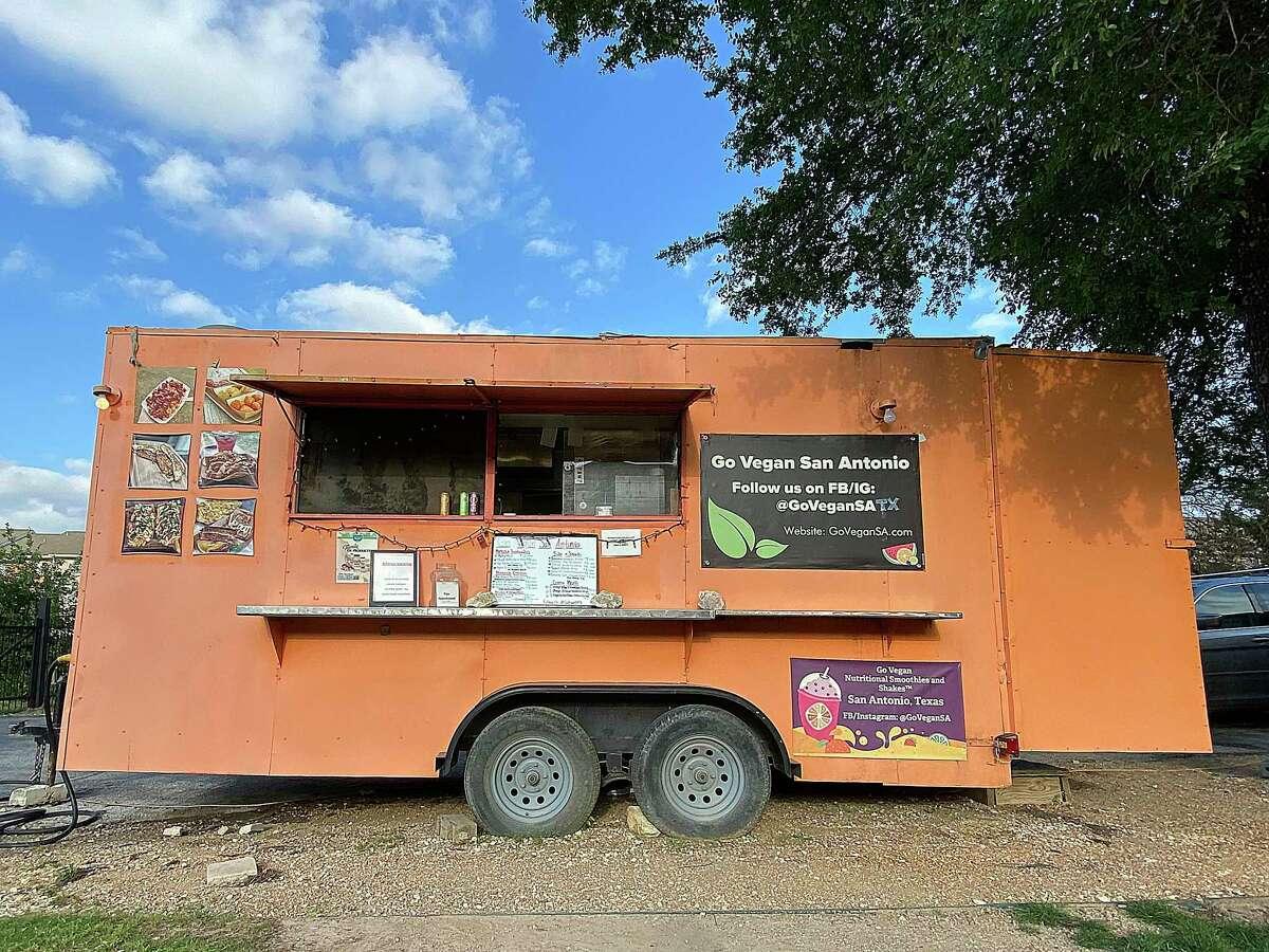 The Go Vegan trailer at The Block SA food truck park near the University of Texas at San Antonio makes one of San Antonio's Top 10 Veggie Burgers.