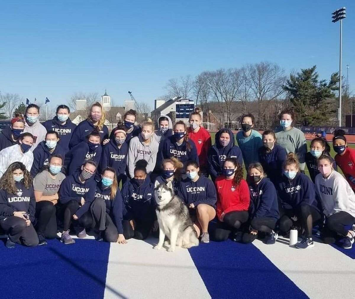 The 2020-21 UConn women's rowing team. The sport was cut by the school nearly a year ago along with three men's sports but this week was granted a temporary restraining order to prevent UConn from eliminating the program until at least Aug. 2.