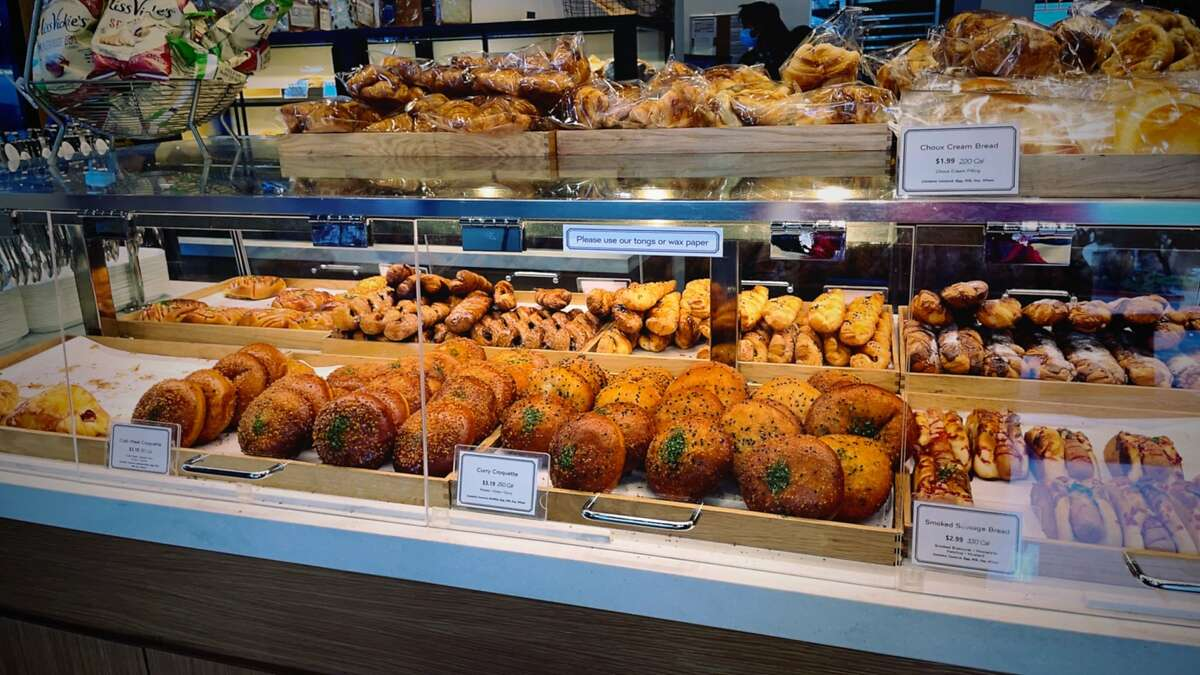 The pastry case at Paris Baguette at H Mart in San Francisco.