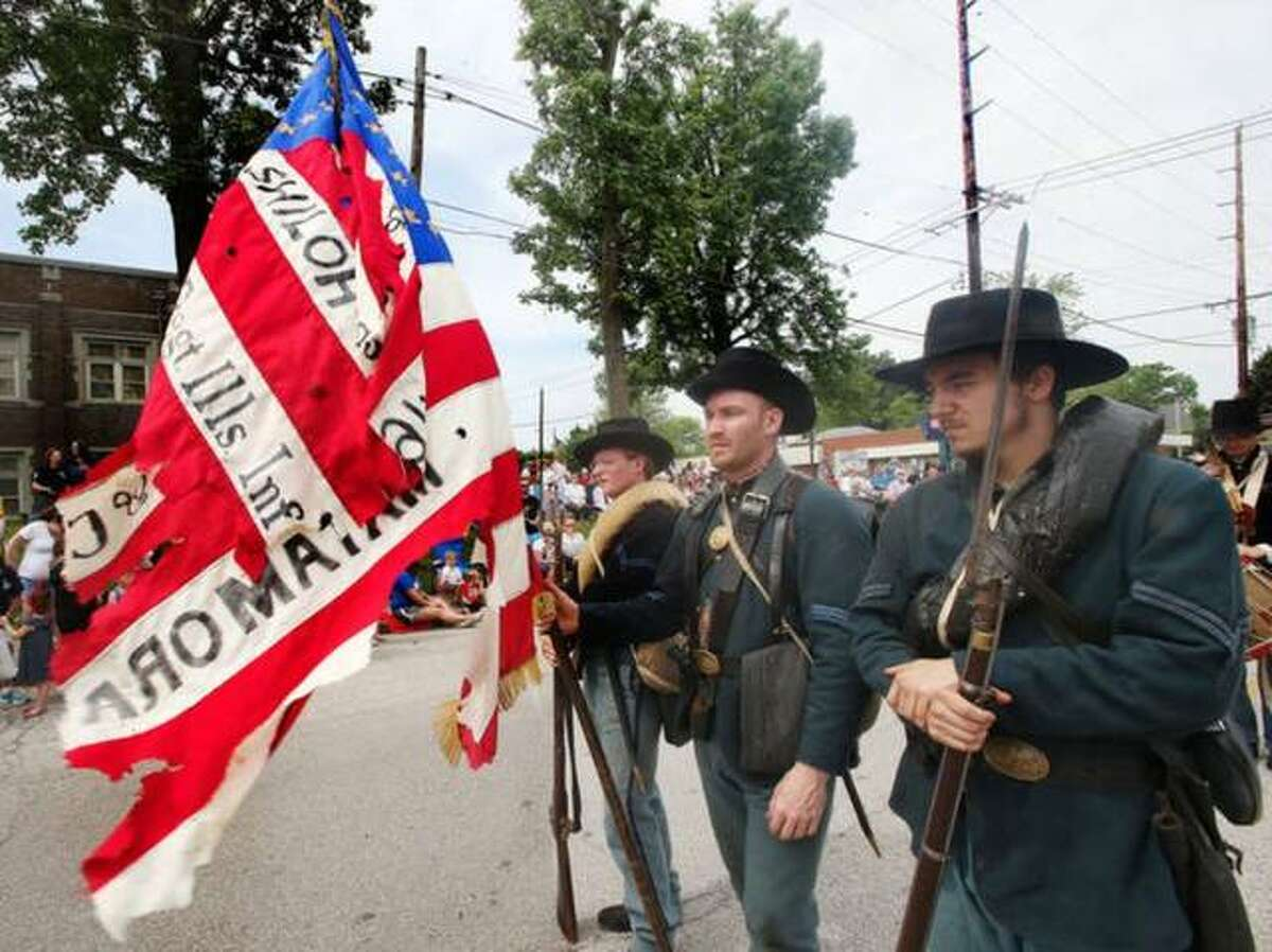 The Jaeger Guard Company F. 32 Illinois Volunteer Infantry Regiment, shown here in the 2019 Alton Memorial Day Parade, will again be participating in the 154th annual parade Monday at 10 a.m. During the Civil War the regiment, comprised of men from Alton and Upper Alton, lost 268 men to battle and disease.