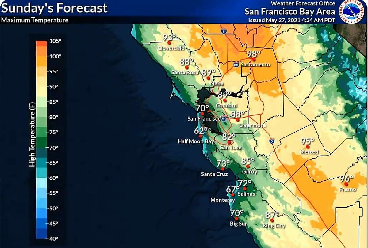 Temperatures will begin warming up on Sunday afternoon with highs in the low to mid 70s along the coast.