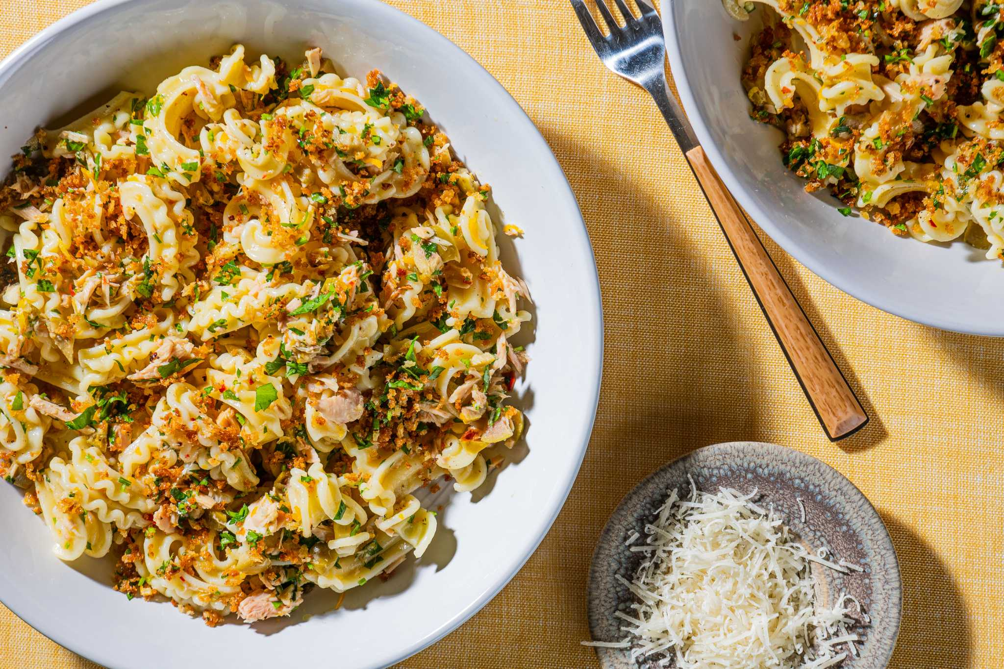 This pasta packs buttery olives, lemony tuna and garlicky breadcrumbs into every bite