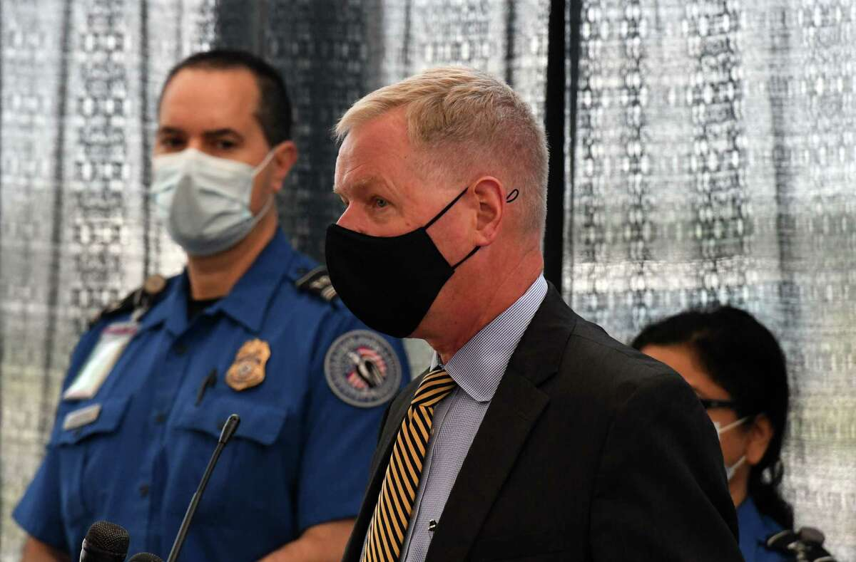 Bart Johnson,TSA security director at Albany International Airport, provides tips for the summer air travel season on Thursday, May 27, 2021, during a press conference at Albany International Airport in Colonie, N.Y. (Will Waldron/Times Union)