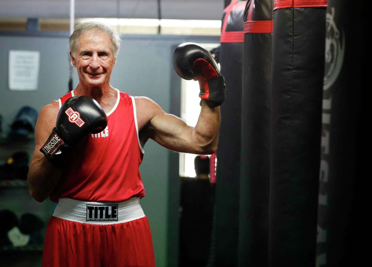 Rick Bobigian, 73, boxing enthusiast and owner of 1776 Energy Operators, poses for a portrait during the Texas Master's Boxing Invitational at Main Street Boxing & Muay Thai boxing gym, Saturday, May 15, 2021, in Houston.
