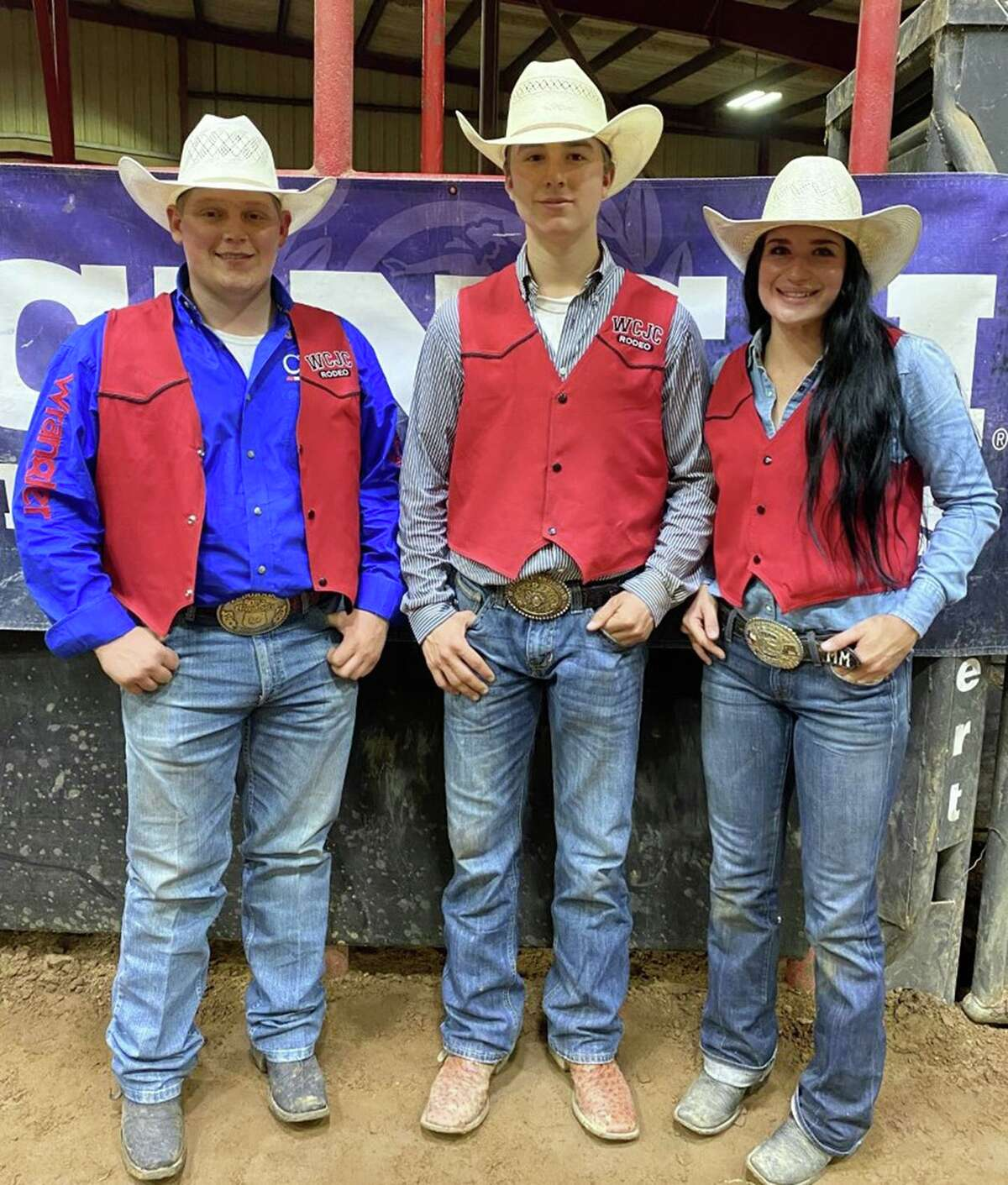 Three Wharton County Junior College rodeo team members have qualified for the College National Finals Rodeo, scheduled for June 11-19 in Casper, Wyo. Pictured from left are Logan Moore of Pleasanton, Connor Atkinson of Needville and Mayce Marek of Arp.