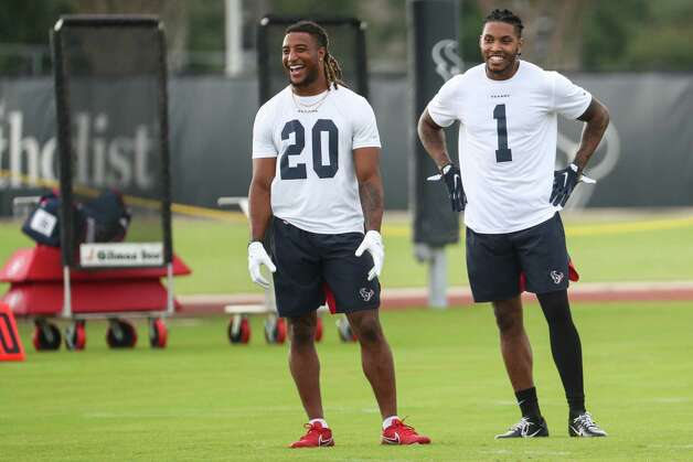 Houston Texans defensive backs Justin Reid (20) and Lonnie Johnson (1) during team OTAs on Thursday, May 27, 2021, at The Houston Methodist Training Center in Houston. Photo: Brett Coomer, Staff Photographer / © 2021 Houston Chronicle