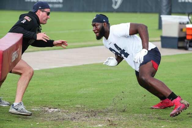 Houston Texans defensive end Charles Omenihu (94) works out during team OTAs on Thursday, May 27, 2021, at The Houston Methodist Training Center in Houston. Photo: Brett Coomer, Staff Photographer / © 2021 Houston Chronicle