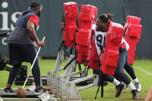 Houston Texans defensive lineman Vincent Taylor hits the blocking sled during team OTAs on Thursday, May 27, 2021, at The Houston Methodist Training Center in Houston. Photo: Brett Coomer, Staff Photographer / © 2021 Houston Chronicle