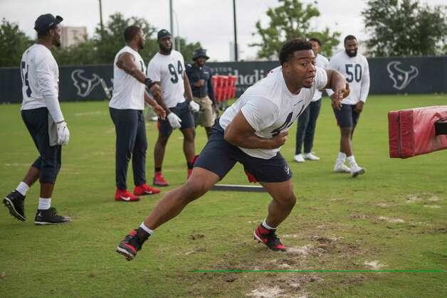 Houston Texans linebacker DeMarcus Walker works out during team OTAs on Thursday, May 27, 2021, at The Houston Methodist Training Center in Houston. Photo: Brett Coomer, Staff Photographer / © 2021 Houston Chronicle