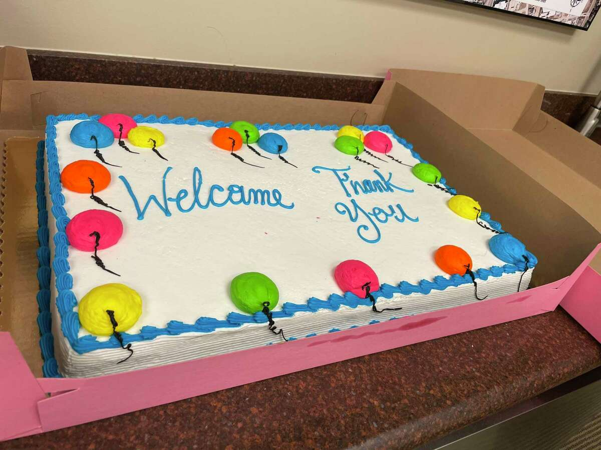 A cake was served in the conference room following the West University Place City Council special meeting on May 26 in which the outgoing mayor and council members were recognized and the incoming mayor and council members were sworn in