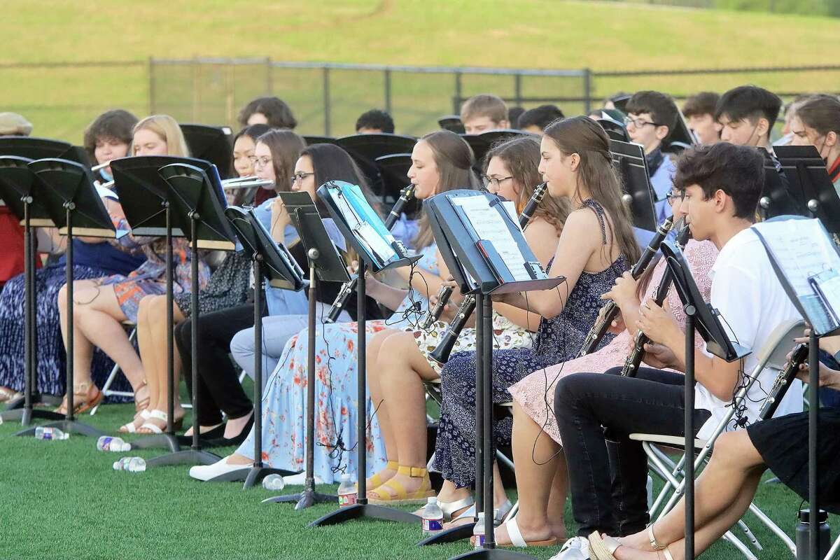 Clear Falls High School's band performs.