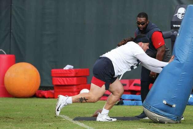 Houston Texans defensive lineman Roy Lopez works out during team OTAs on Thursday, May 27, 2021, at The Houston Methodist Training Center in Houston. Photo: Brett Coomer, Staff Photographer / © 2021 Houston Chronicle