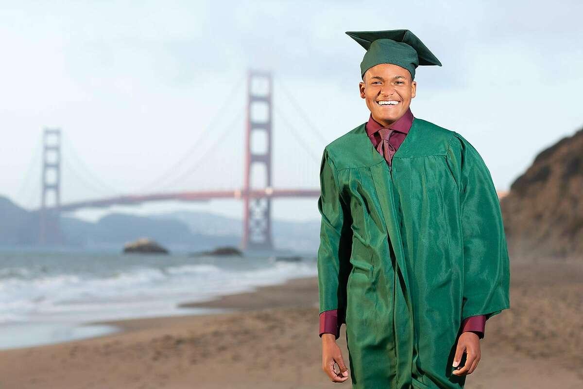 Zane Fisher-Paulson poses for graduation photos, taken by Slava Blazer Photography, in San Francisco.
