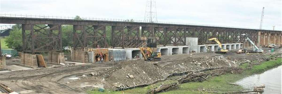 Work progresses on the Merchants Bridge. The $222 million project to rehabilitate the Merchants Bridge, one of two rail bridges crossing the Mississippi River in St. Louis, remains St. Louis Regional Freightway's highest priority project and on target for completion in late 2023.