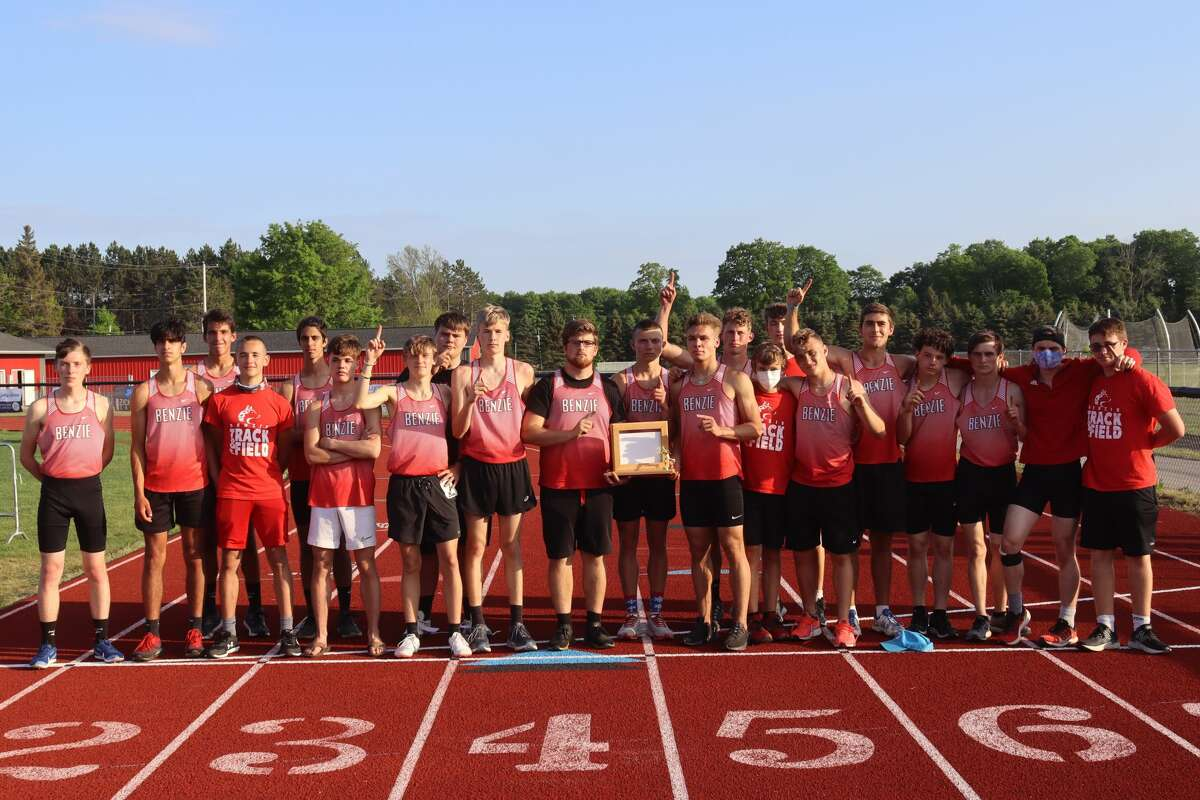 Benzie Central celebrates a boys conference championship in track and field on May 25.
