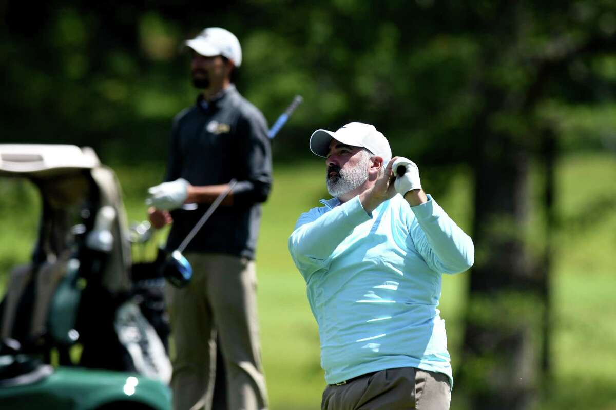 Chad Stoffer of the Town of Colonie Golf Course drives from the tee while competing in the 2021 Challenge Cup golf match where pro golfers from the Northeastern New York PGA are paired against amateurs from the Capital Region Amateur Golf Association on Thursday, May 27, 2021, at Schuyler Meadows Club in Colonie, N.Y. (Will Waldron/Times Union)