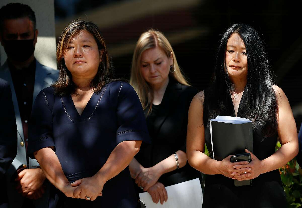 Valley Transportation Authority executive leadership Margaret Abe-Koga (left), Cindy Chavez and Evelynn Tran attend a news briefing a day after the mass shooting in San Jose that killed nine workers.