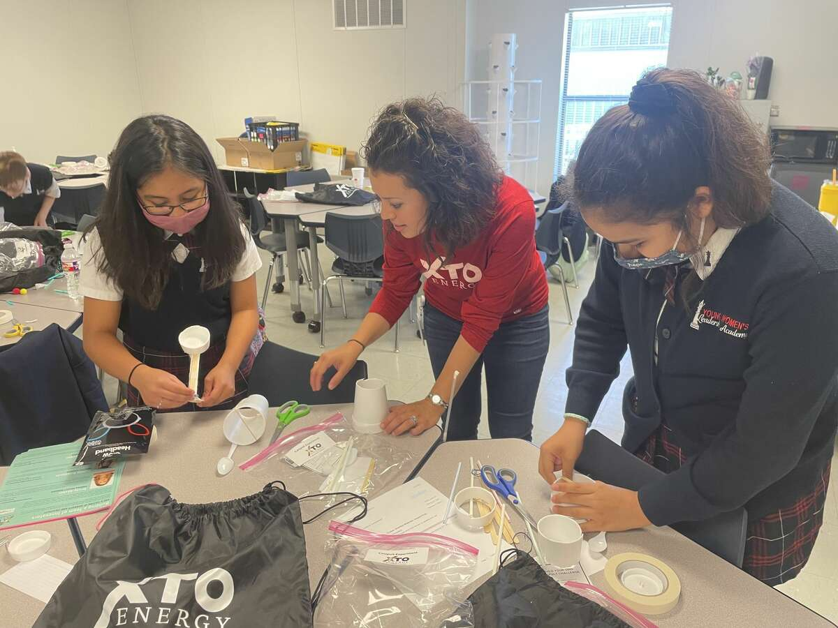XTO Energy, a subsidiary of ExxonMobil, employee volunteers welcomed MISD female students from the Young Women's Leadership Academy, Goddard Junior High and Bunche Elementary for Introduce a Girl to Engineering Day, a program designed to inspire female students to consider careers in engineering.
