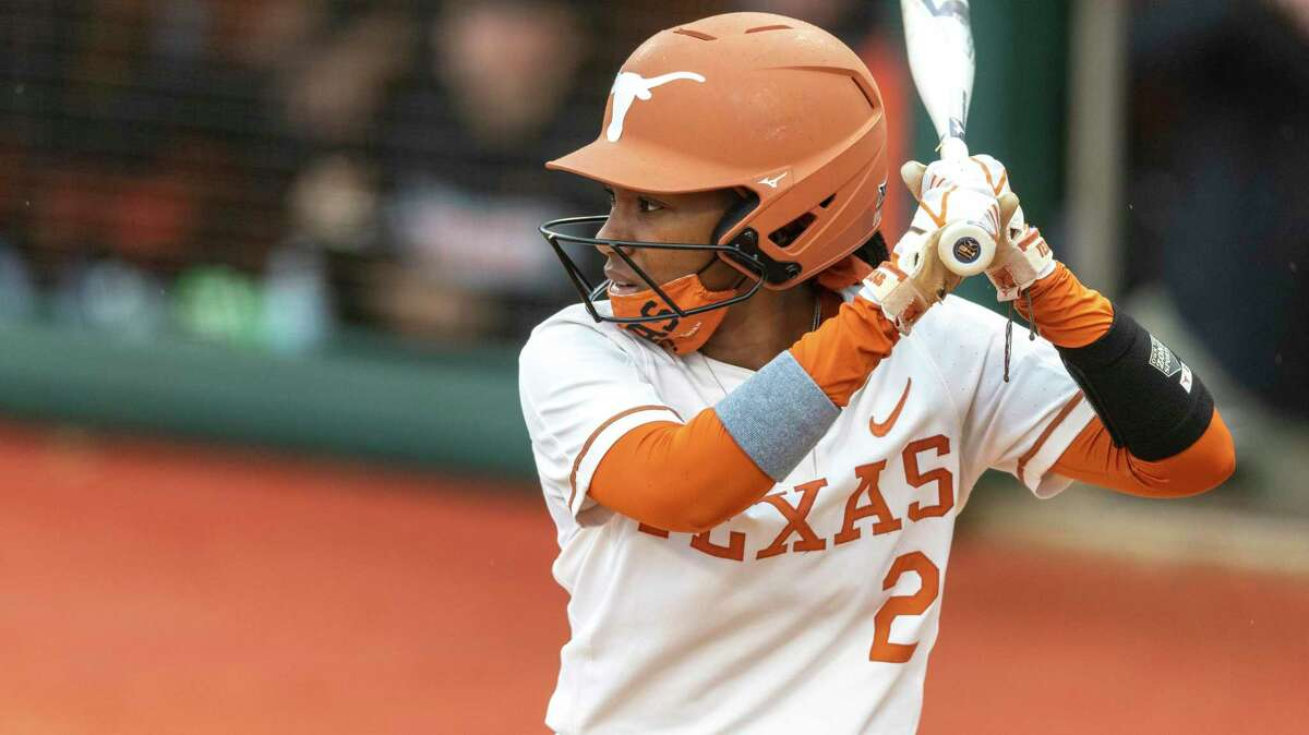Texas' Janae Jefferson goes to bat against Oklahoma State during an NCAA softball game on Saturday, May 1, 2021, in Austin. The Longhorns were swept by Oklahoma State this season.