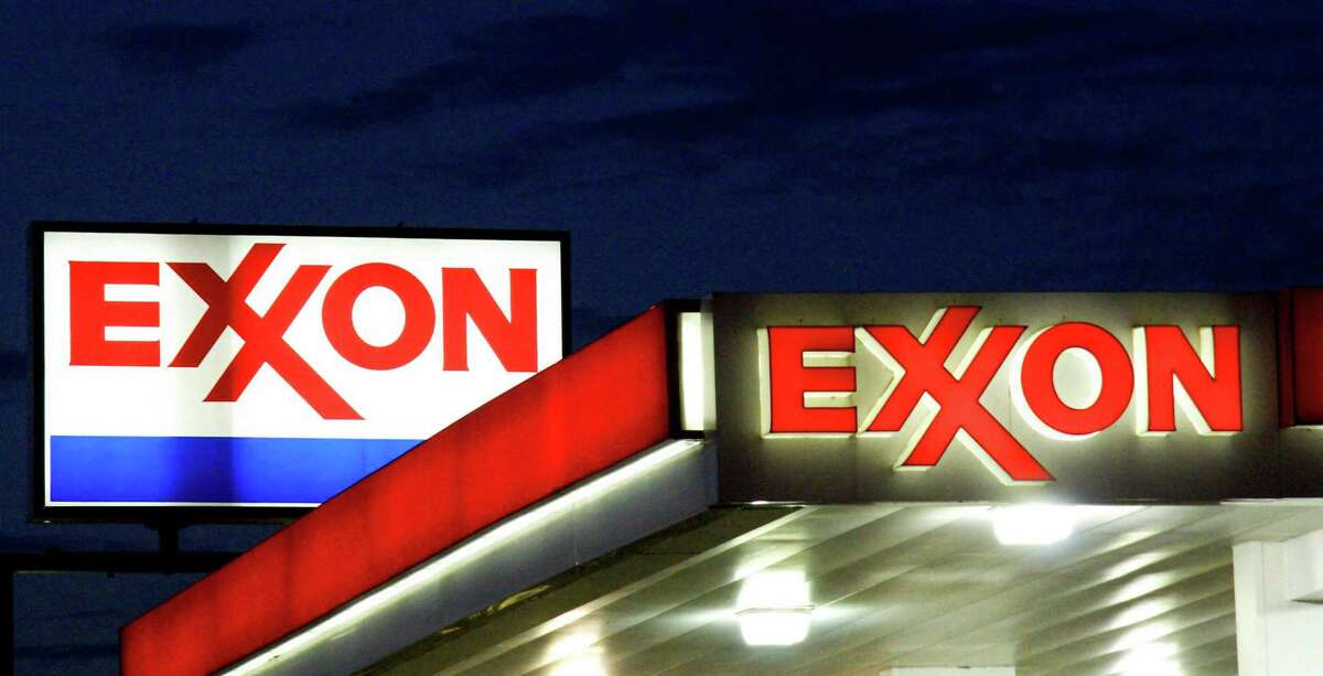 (FILES) An Exxon sign is seen at a station in this September 20, 2008 file photo in Manassas, Virginia. - ExxonMobil's chief executive defended the company at its annual meeting on May 26, 2021 as the oil giant sought to fend off a major activist challenge over its policies to address climate change. ExxonMobil faces a number of climate-related votes at the gathering, which went into a one-hour recess late Wednesday morning following speeches from sponsors of the shareholder motions. (Photo by KAREN BLEIER / AFP FILES / AFP) (Photo by KAREN BLEIER/AFP FILES/AFP via Getty Images)