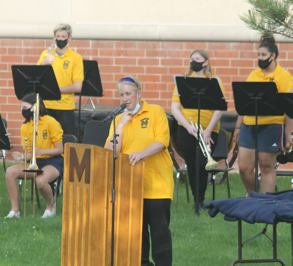 Andrea Mack, Manistee Area Public Schools director of bands, was presented with the 2020 Michigan School B and Orchestra Association Teacher of the Year during an outdoor concert at the Manistee Middle High School building Monday evening.