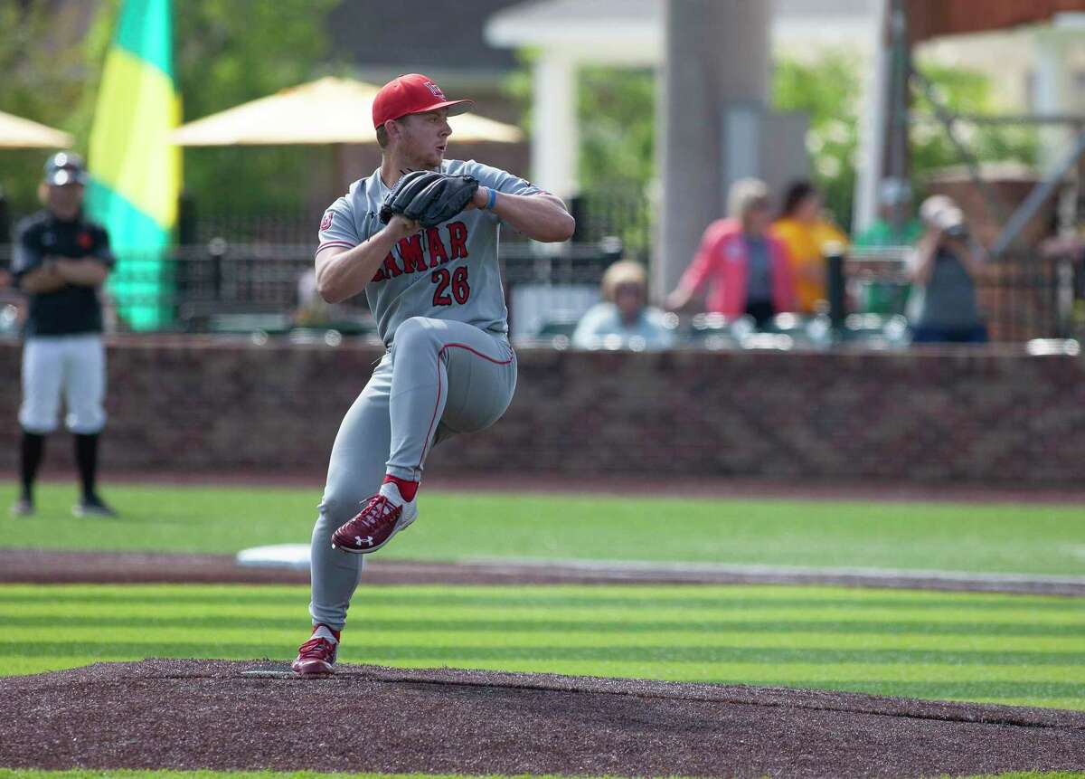 Jack Dallas throws a pitch during Lamar's loss on Thursday to Sam Houston in the Southland Conference Tournament.