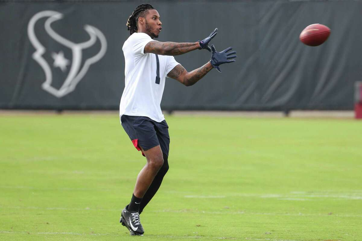 Houston Texans defensive back Lonnie Johnson works out during team OTAs on Thursday, May 27, 2021, at The Houston Methodist Training Center in Houston.