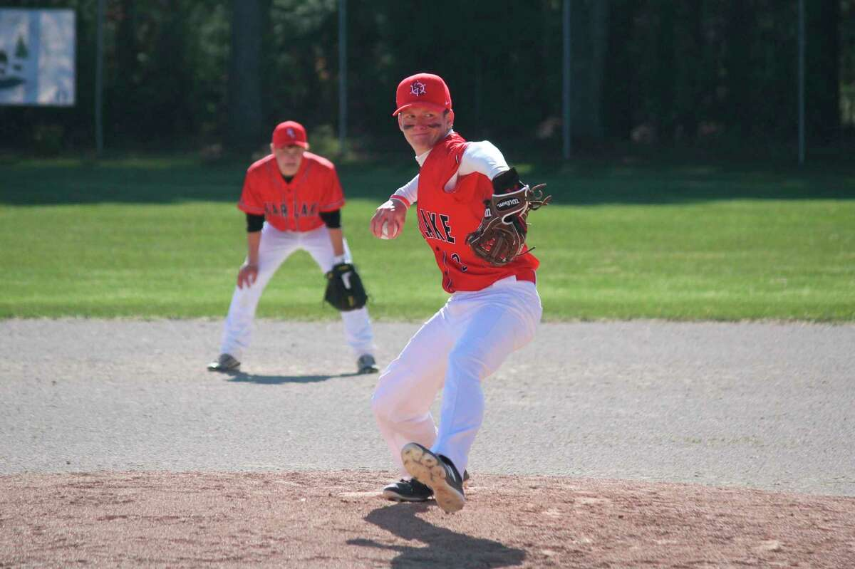 Jack Cook pitches for the Lakers during a game earlier this spring. (News Advocate file photo)