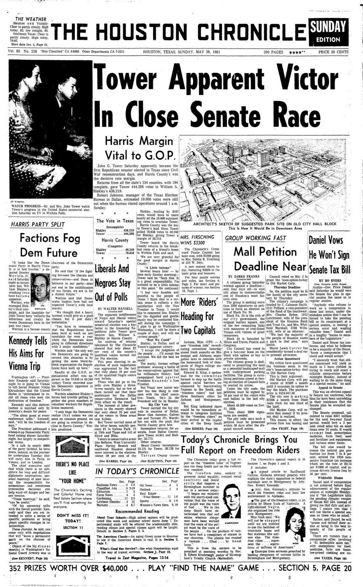 Houston Chronicle front page for May 28, 1961.