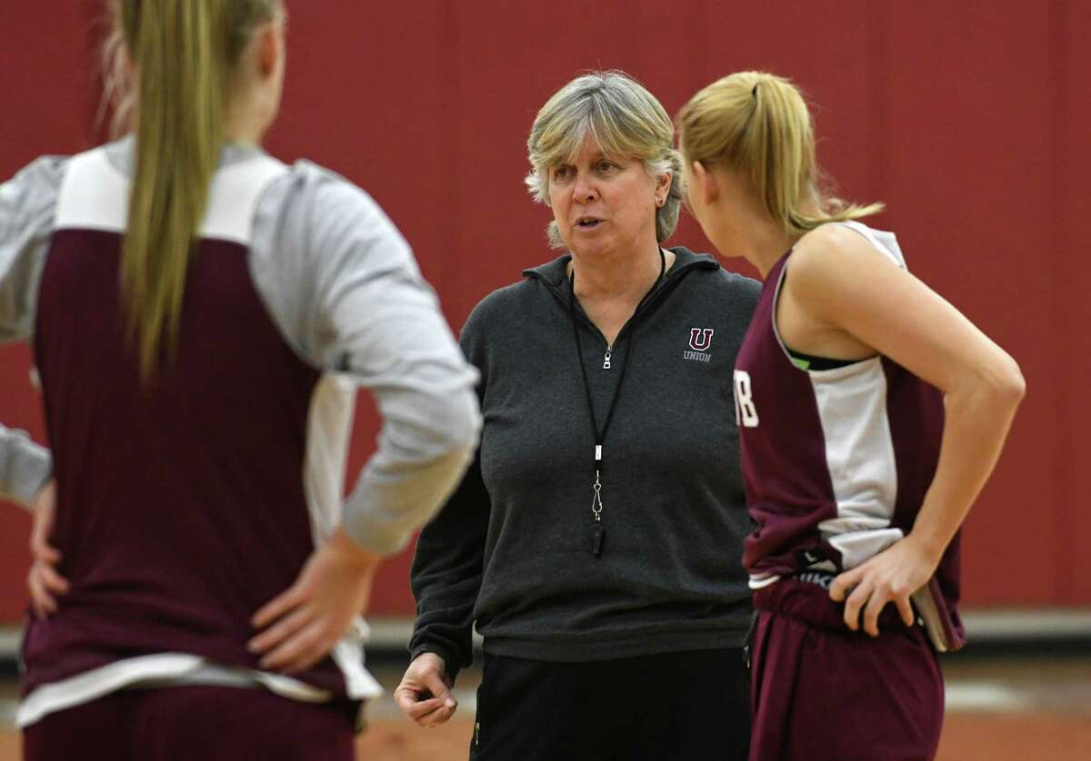 Mary Ellen Burt, shown with her Union College women's basketball team in 2017, announced her retirement on Thursday, May 27, 2021.