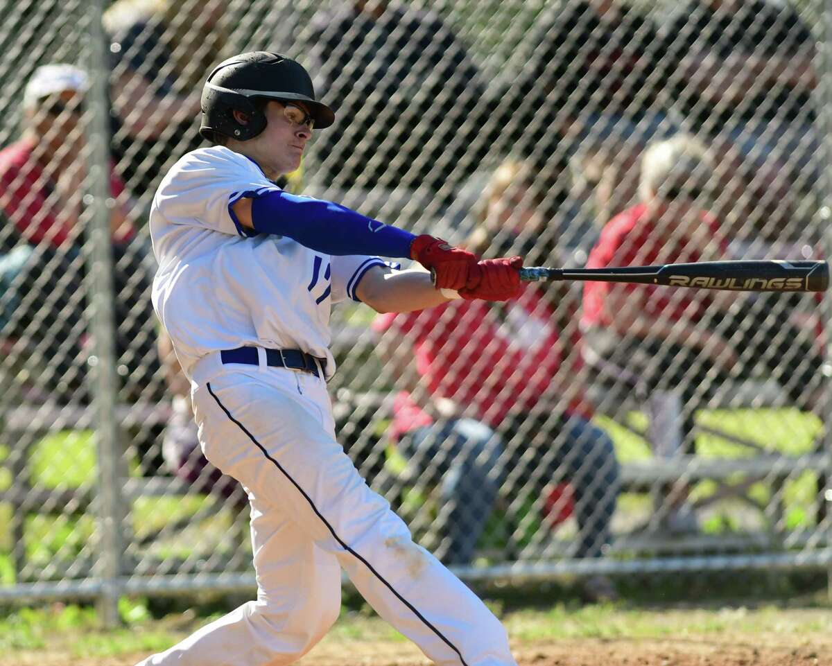La Salle Institute's Connor Maurohits the ball over the fence for a home run during a baseball game against Albany Academy on Thursday, May 27, 2021 in Troy, N.Y. (Lori Van Buren/Times Union)