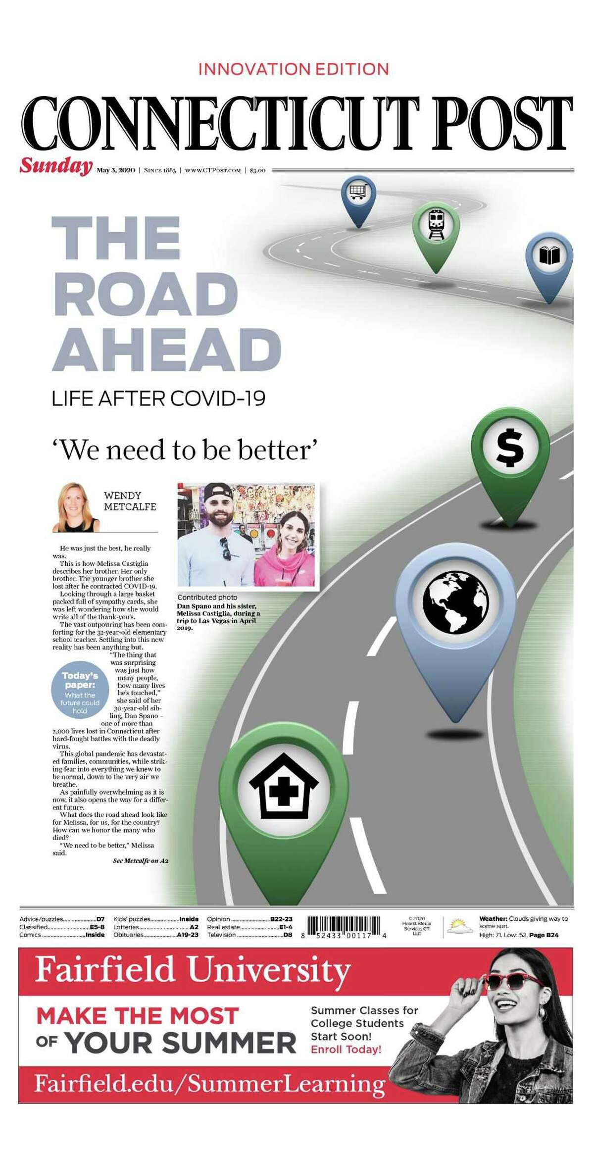 The Road Ahead, a full edition of all of HCMG daily publications that took an in-depth look at what Connecticut residents might face next in the pandemic, was awarded first place in a new COVID series category.