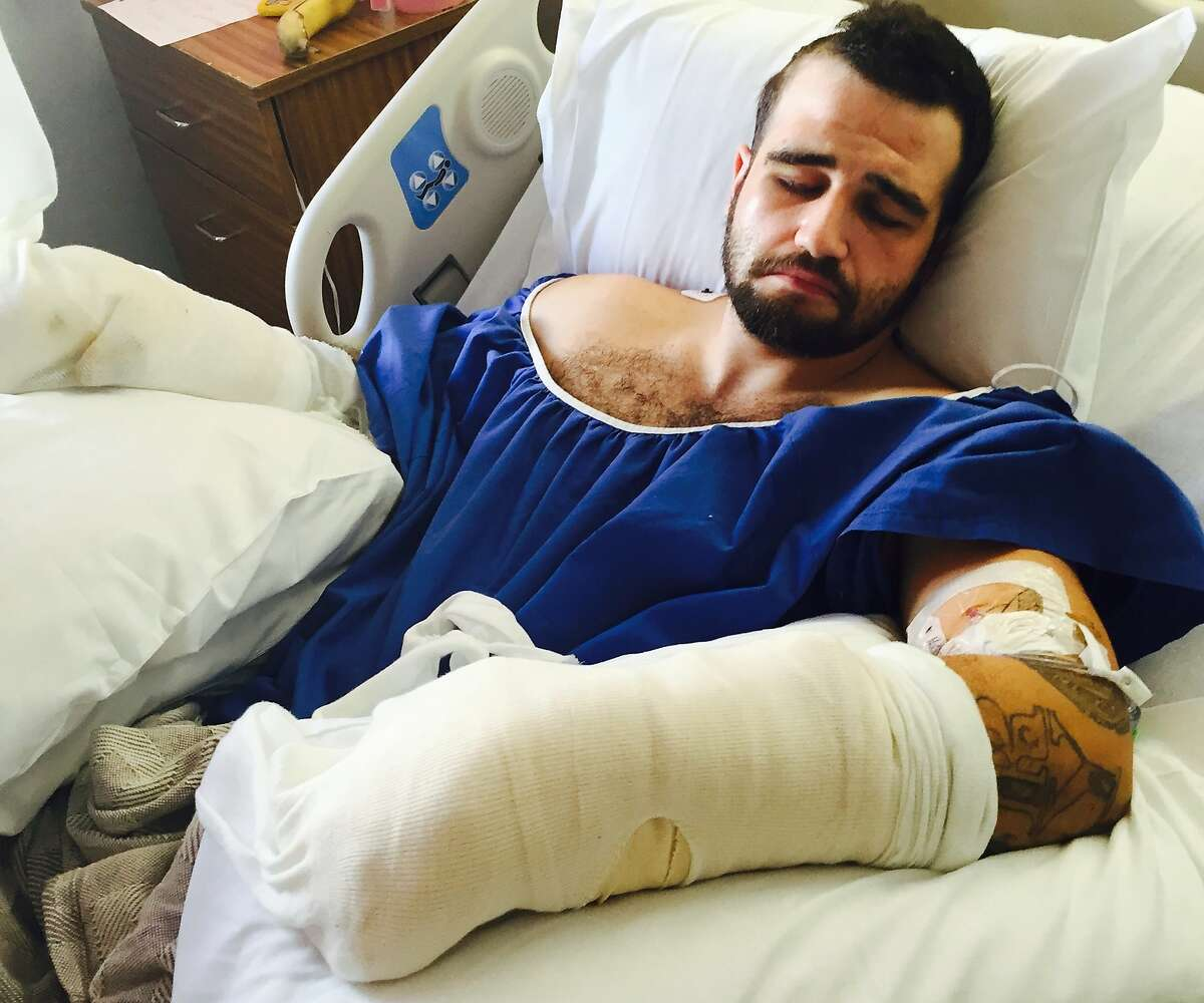 Photo courtesy of Julia Sherwin Stanislav Petrov in hospital after allegedly being beaten by two Alameda County deputies in an alley in Mission District