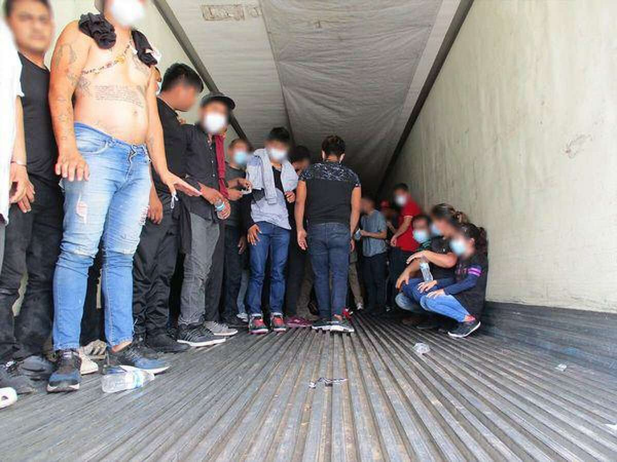 U.S. Border Patrol agents discovered more than 100 migrants inside a locked trailer at the Interstate 35 checkpoint on Wednesday.