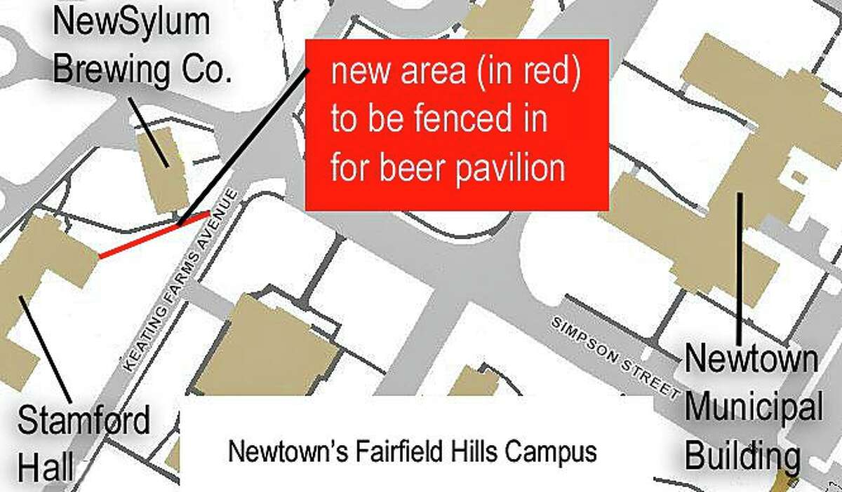 NewSylum Brewing Co., on the Fairfield Hill Campus in Newtown, Conn., has permission to expand its beer garden to the wall of nearby Stamford Hall.