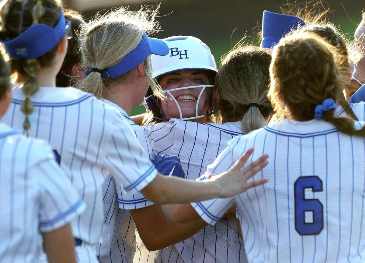 Reagan Duty #47 of Barbers Hill reacts after hitting a walk-off single in the eighth inning to give the Lady Eagles a 6-5 win over Lake Creek in Game 2 of a Region III-5A final series at Cypress Ranch High School, Thursday, May 27, 2021, in Cypress.
