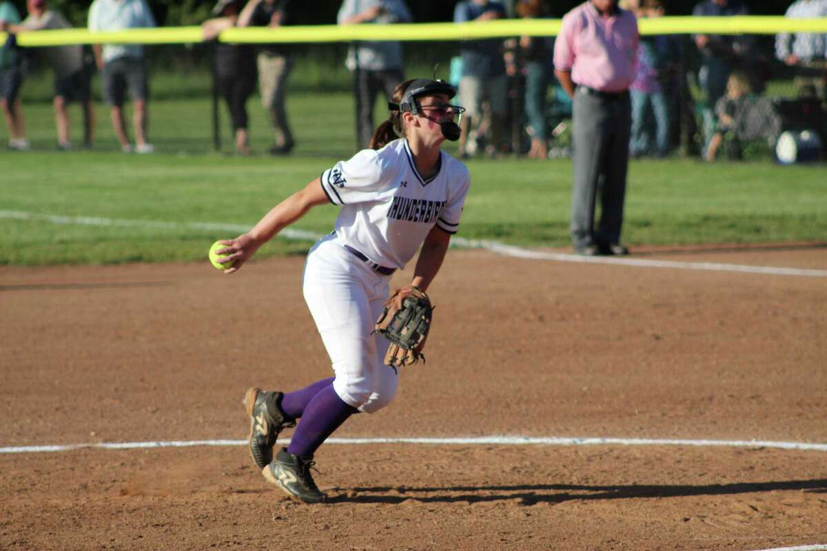 North Branford pitcher Kiley Mullins tossed a four-hit shutout in the Shoreline championship game on Thursday.