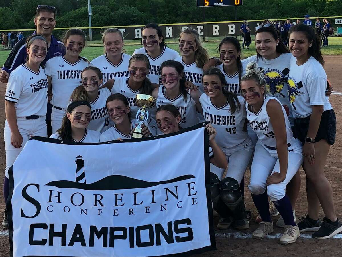 North Branford players and coaches celebrate a 5-0 victory over Old Lyme and another Shoreline Conference championship on Thursday, May 27, 2021 in North Branford, Conn.