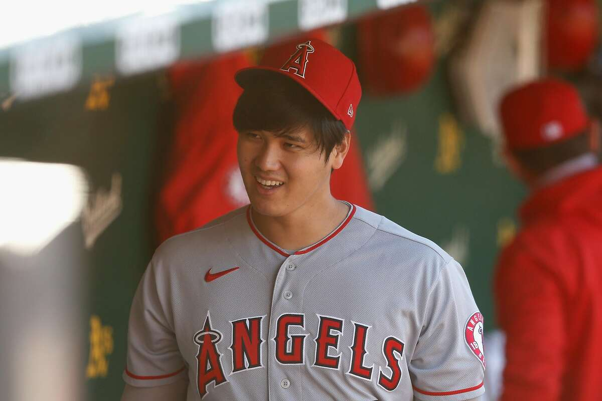OAKLAND, CALIFORNIA - MAY 27: Shohei Ohtani #17 of the Los Angeles Angels looks on from the dugout before the game against the Oakland Athletics at RingCentral Coliseum on May 27, 2021 in Oakland, California. (Photo by Lachlan Cunningham/Getty Images)