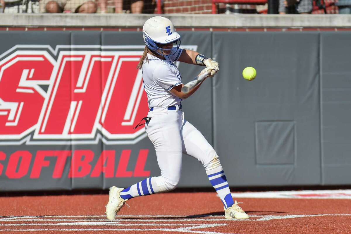 Allie Clark (15) of the Fairfield Ludlowe Falcons leads off the game with a double during the FCIAC Softball Championship on May 27, 2021 at played at Sacred Heart University in Fairfield, CT.