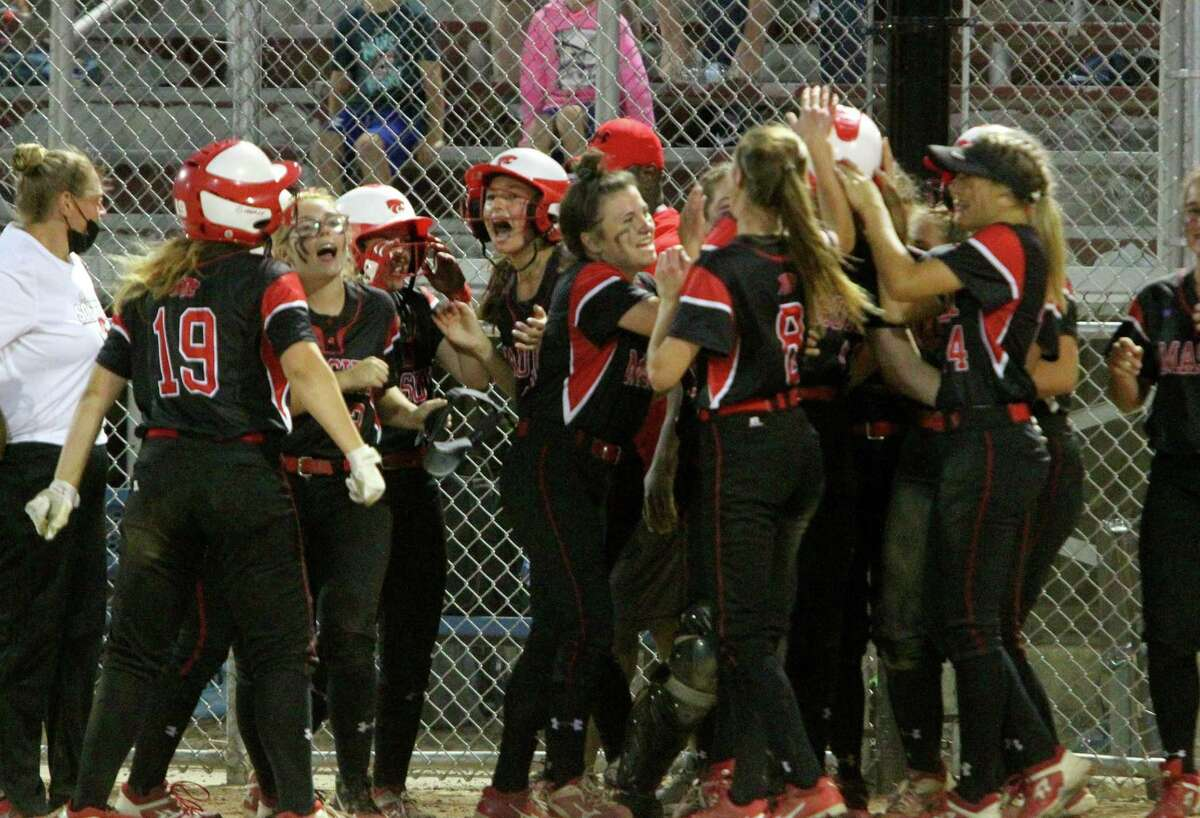 Masuk celebrates after beating Notre Dame of Fairfield for SWC softball championship at DeLuca Field in on Thursday.