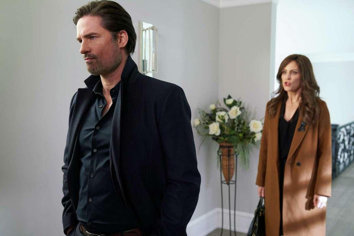 Warren Christie as Fotis Dulos and Annabeth Gish star in