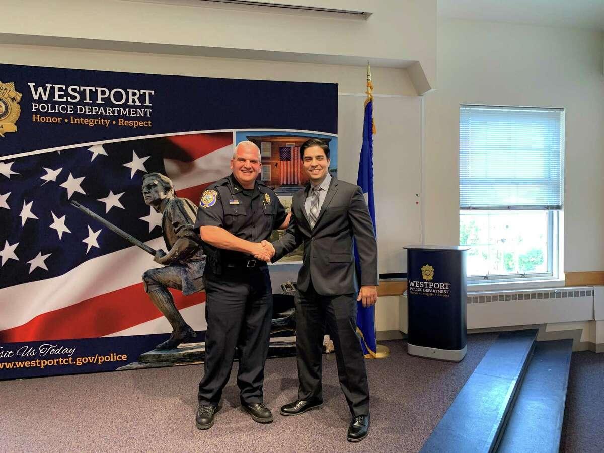 Westport Police Chief Foti Koskinas and new Westport Police Officer Stephen Silva