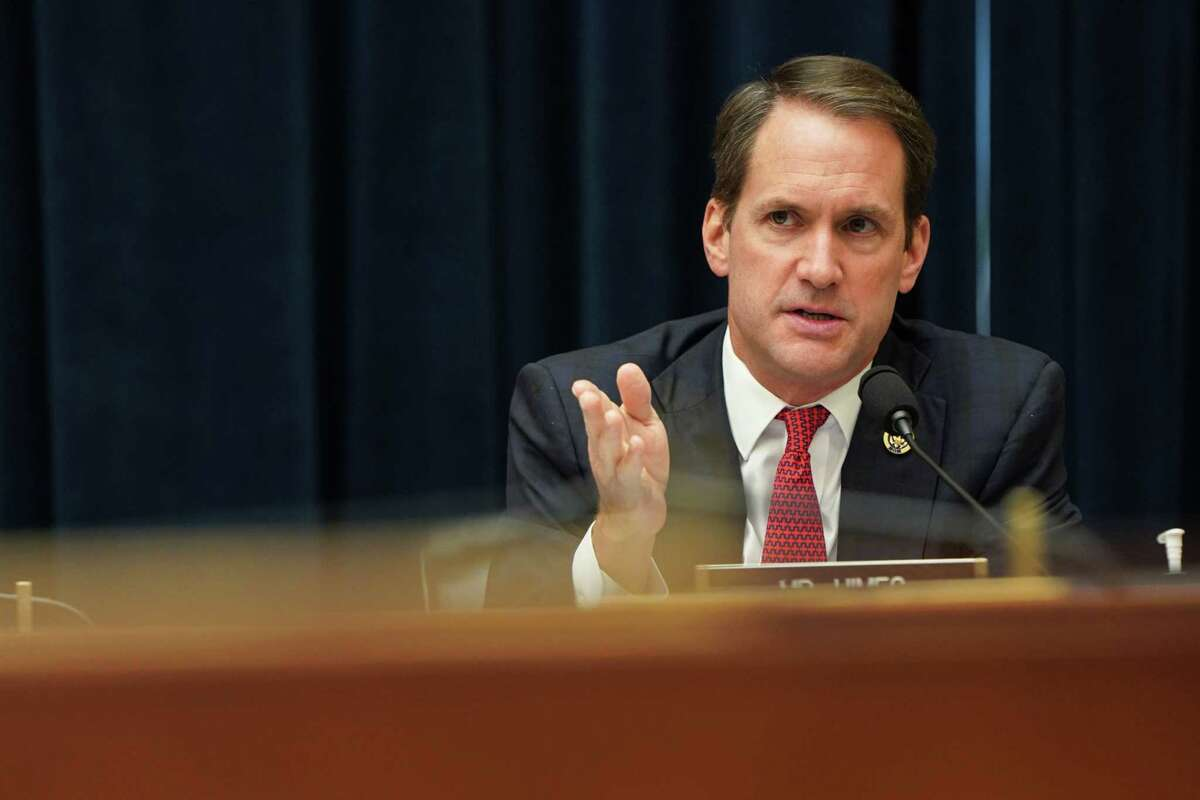 Rep. Jim Himes (D-Connecticut) questions U.S. Treasury Secretary Steven Mnuchin and Federal Reserve Chair Jerome Powell as they testify during a House Financial Services Committee hearing on