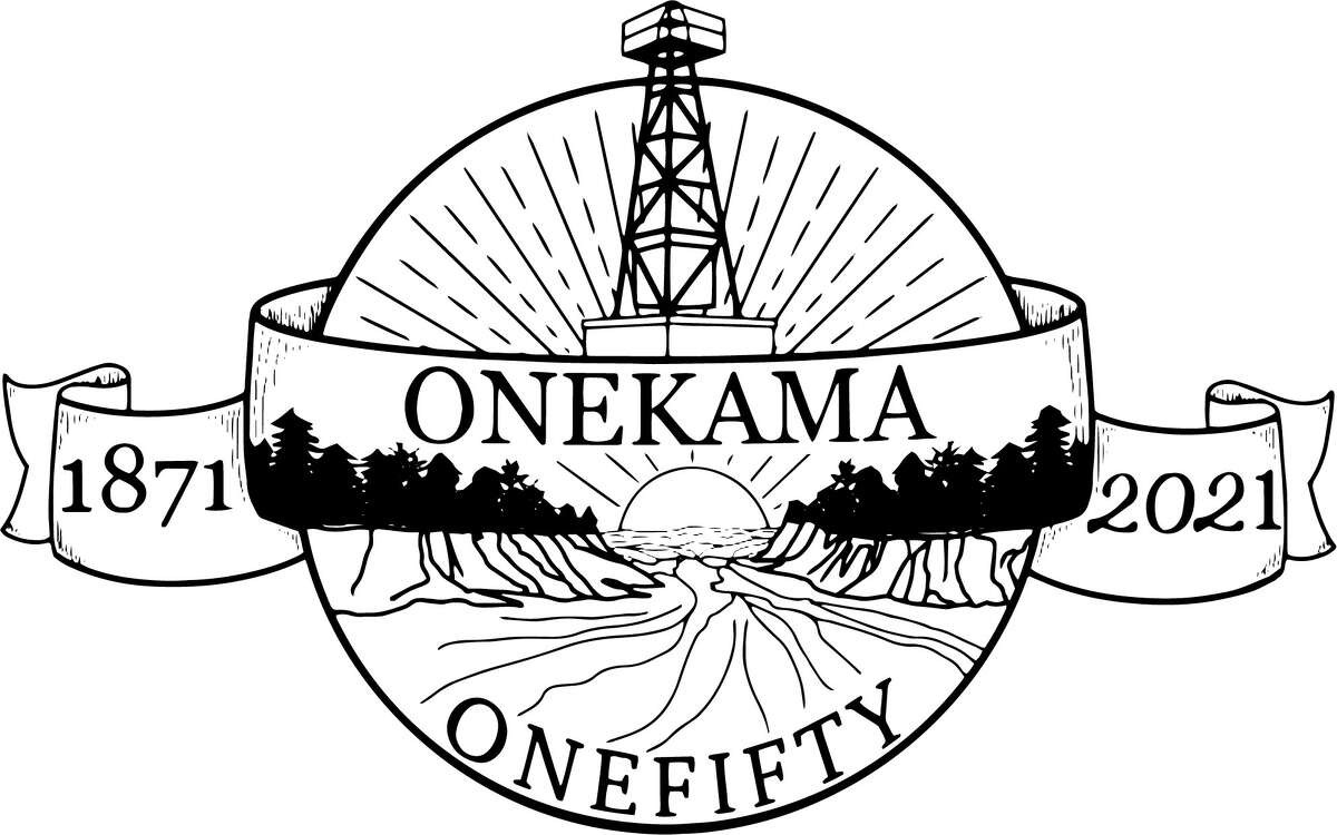 The official black and white logo for the Onekama OneFifty event.