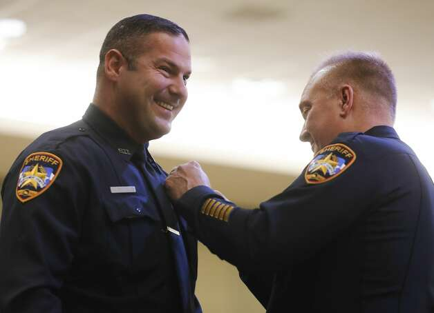 Kristopher Dossey is promoted to specialist during the Montgomery County Sheriff's Office promotion and awards ceremony, Thursday, May 27, 2021, in Conroe. Photo: Jason Fochtman/Staff Photographer / 2021 © Houston Chronicle